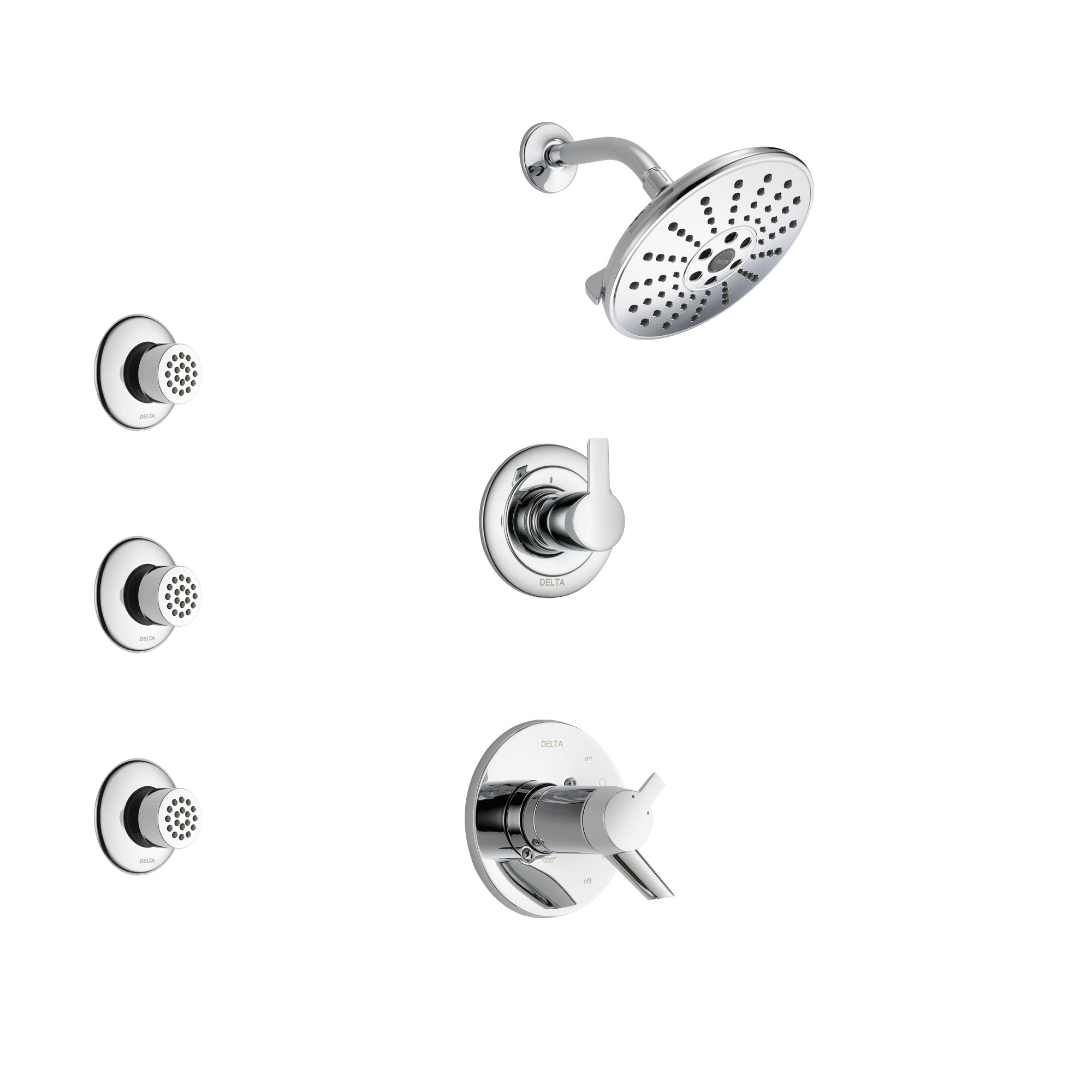Delta Compel Chrome Finish Shower System with Dual Thermostatic Control Handle, 3-Setting Diverter, Showerhead, and 3 Body Sprays SS17T26111