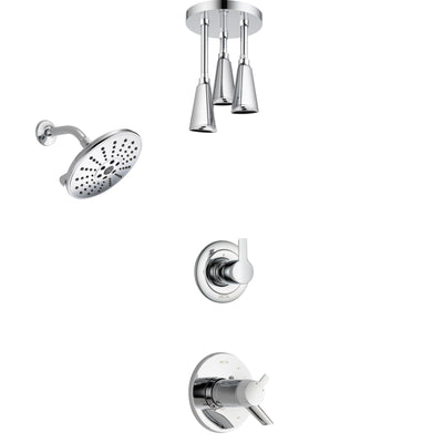 Delta Compel Chrome Finish Shower System with Dual Thermostatic Control Handle, Diverter, Showerhead, and Ceiling Mount Showerhead SS17T26116