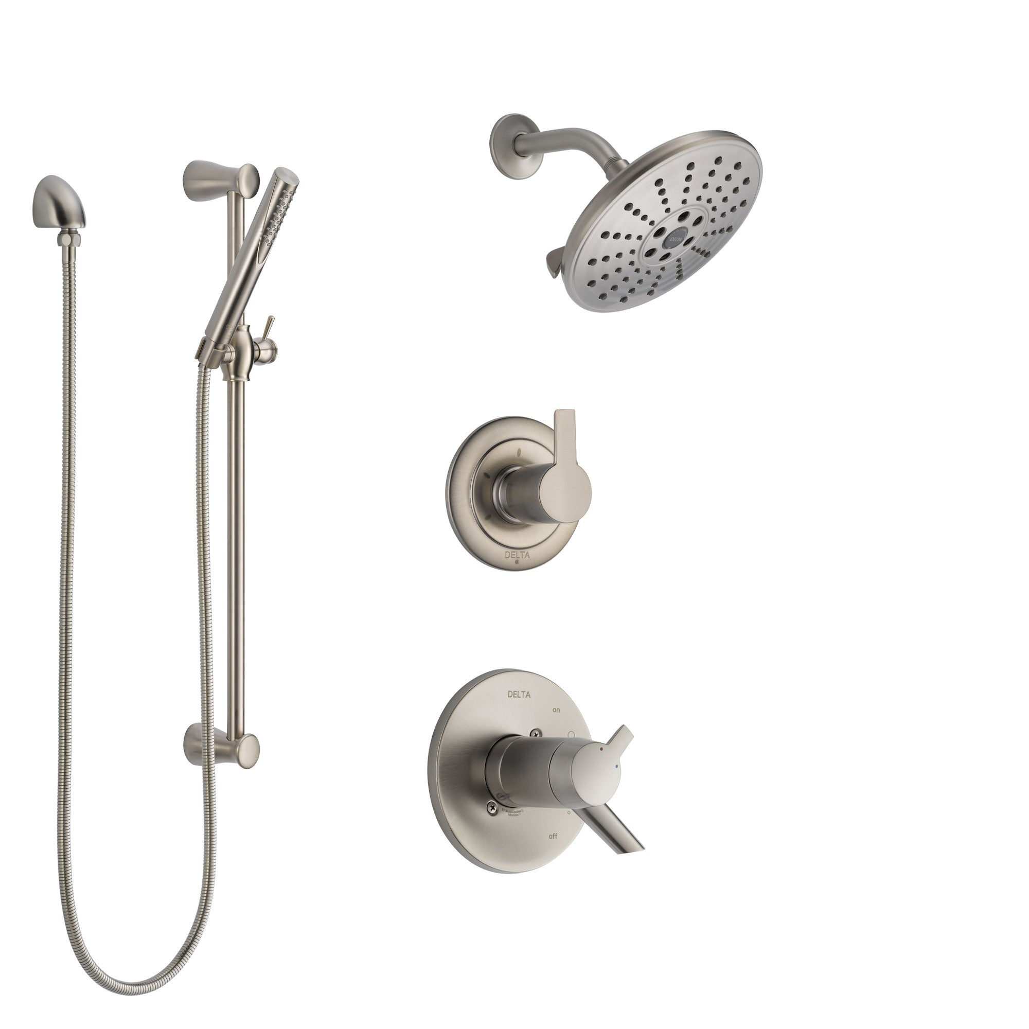 Delta Compel Dual Thermostatic Control Handle Stainless Steel Finish Shower System, Diverter, Showerhead, and Hand Shower with Slidebar SS17T2611SS5