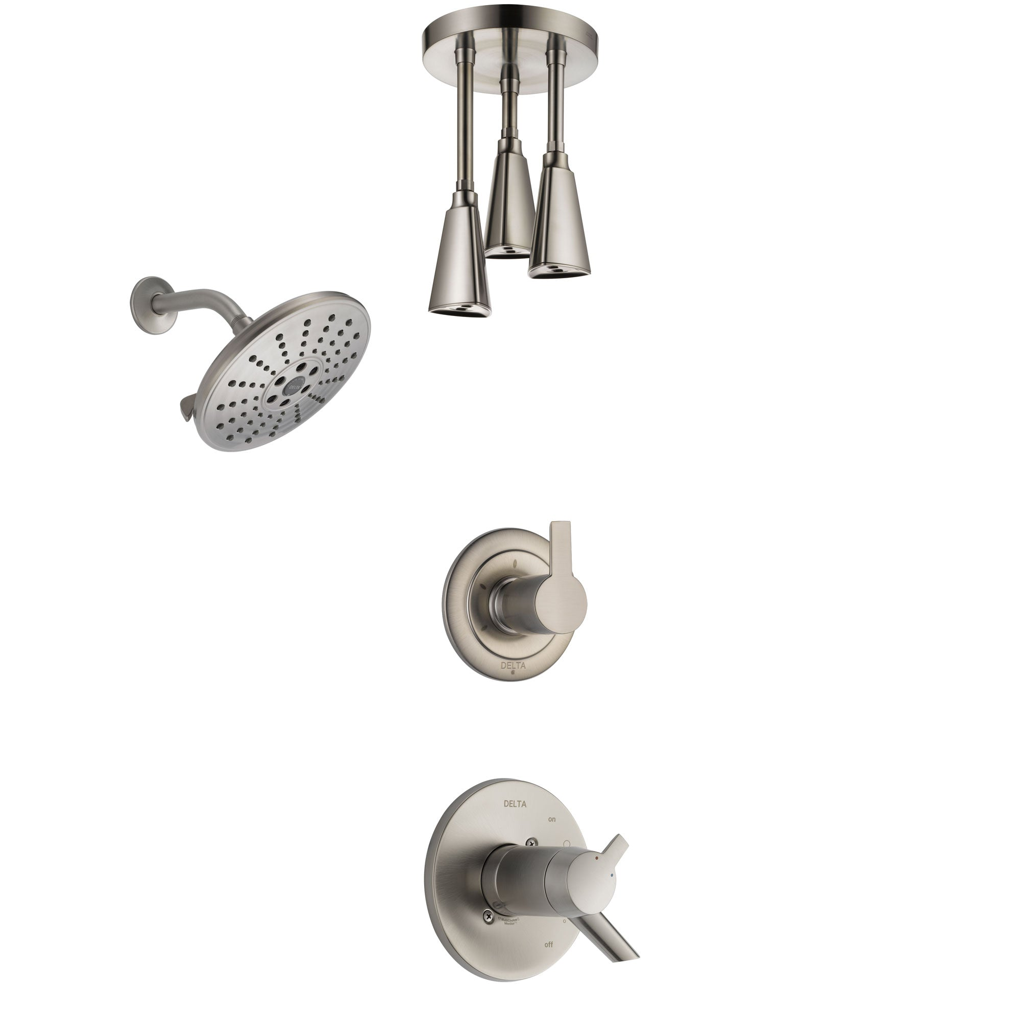 Delta Compel Dual Thermostatic Control Handle Stainless Steel Finish Shower System, Diverter, Showerhead, and Ceiling Mount Showerhead SS17T2611SS6