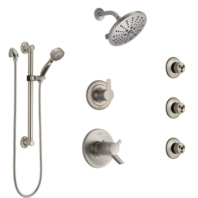 Delta Compel Dual Thermostatic Control Stainless Steel Finish Shower System, Diverter, Showerhead, 3 Body Sprays, and Grab Bar Hand Spray SS17T2612SS1