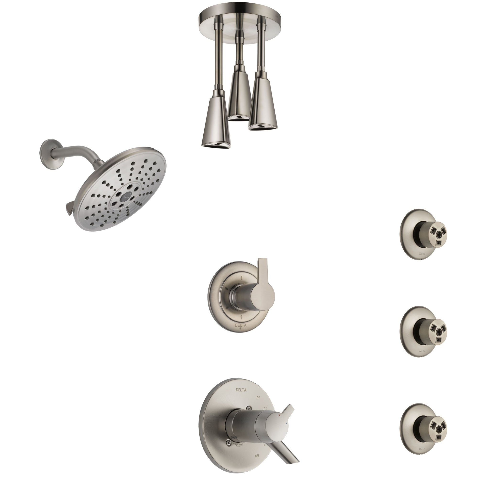 Delta Compel Dual Thermostatic Control Stainless Steel Finish Shower System, Diverter, Showerhead, Ceiling Showerhead, and 3 Body Sprays SS17T2612SS6