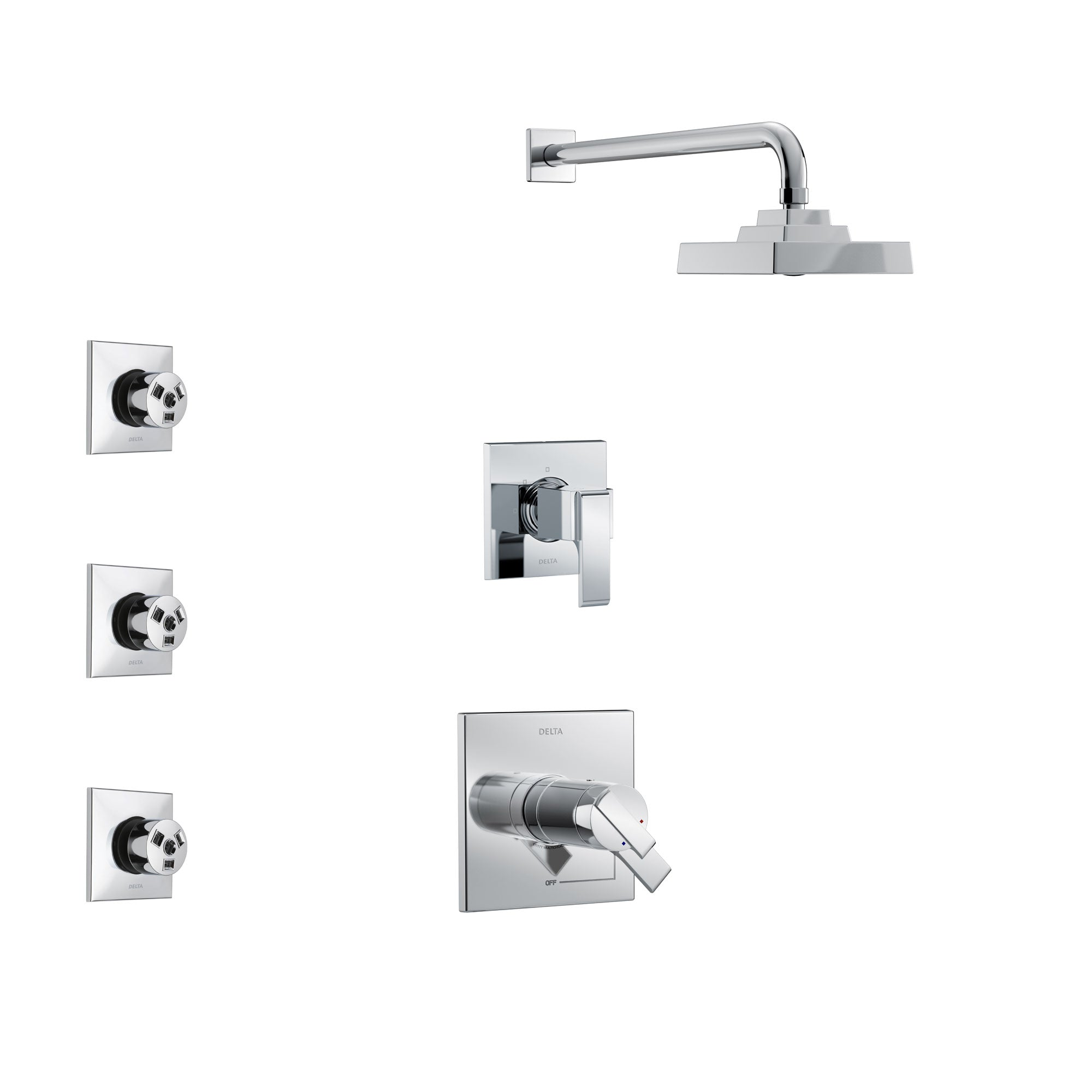 Delta Ara Chrome Finish Shower System with Dual Thermostatic Control Handle, 3-Setting Diverter, Showerhead, and 3 Body Sprays SS17T26712