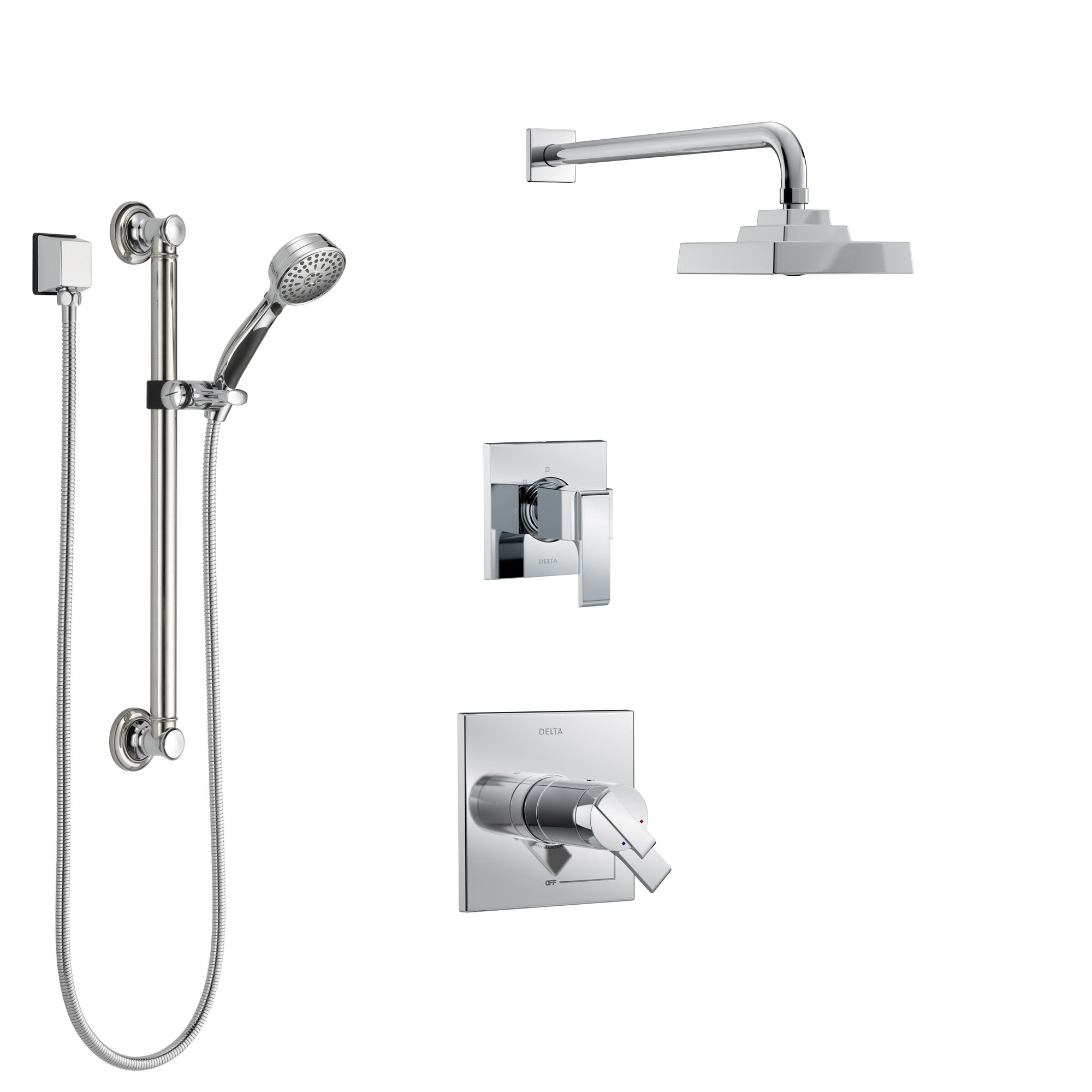 Delta Ara Chrome Finish Shower System with Dual Thermostatic Control Handle, 3-Setting Diverter, Showerhead, and Hand Shower with Grab Bar SS17T26713