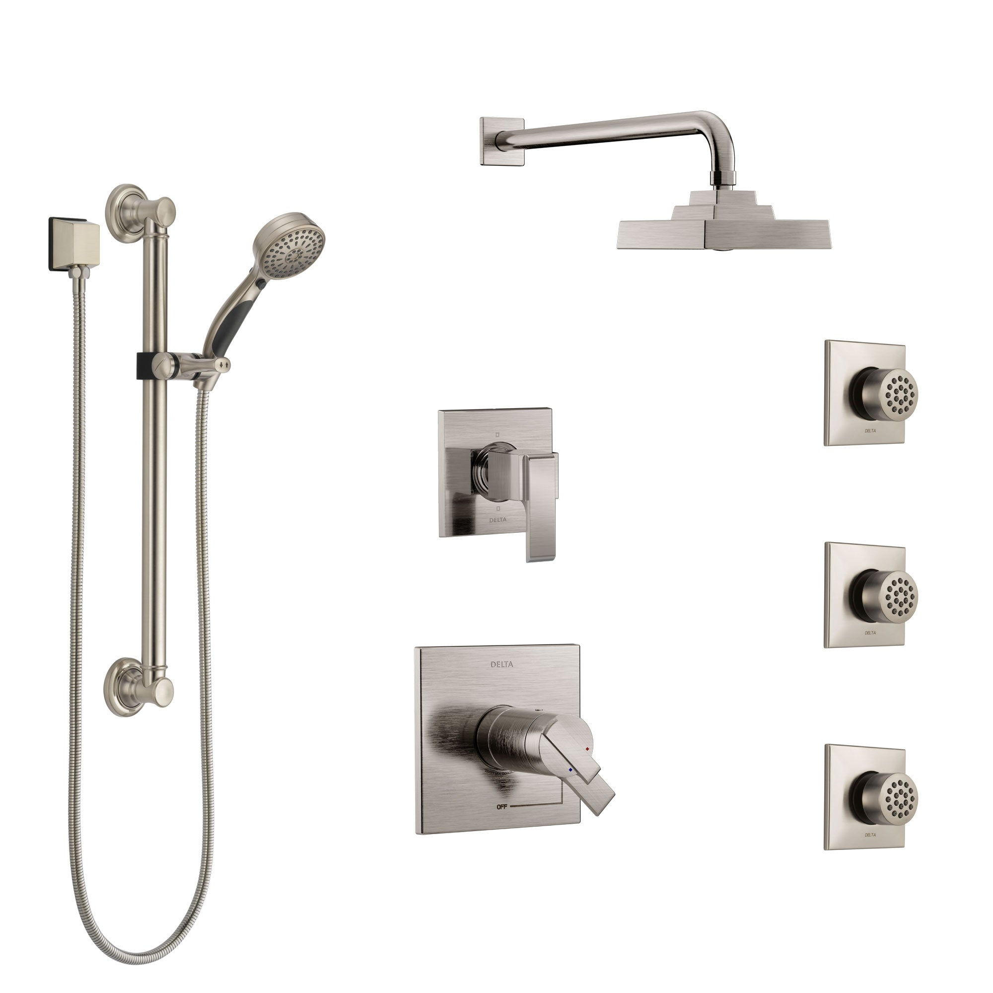 Delta Ara Dual Thermostatic Control Stainless Steel Finish Shower System, Diverter, Showerhead, 3 Body Sprays, and Grab Bar Hand Shower SS17T2671SS1