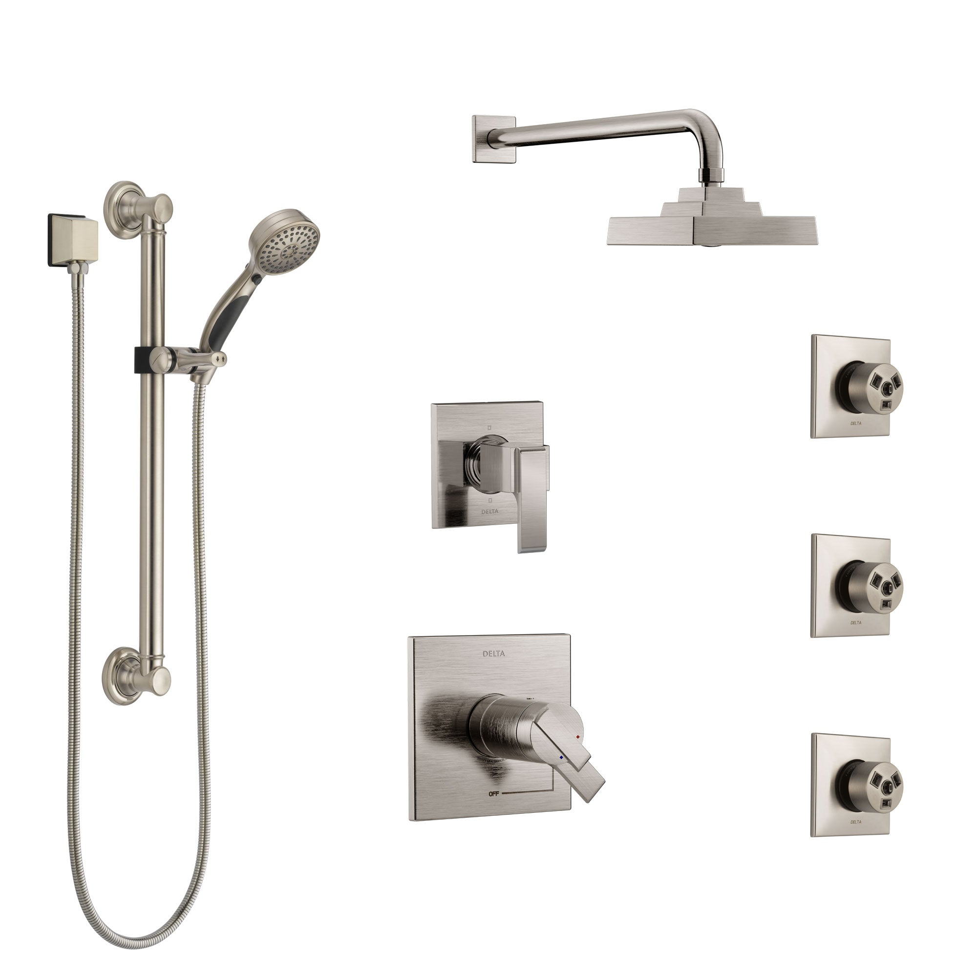 Delta Ara Dual Thermostatic Control Stainless Steel Finish Shower System, Diverter, Showerhead, 3 Body Sprays, and Grab Bar Hand Shower SS17T2671SS2