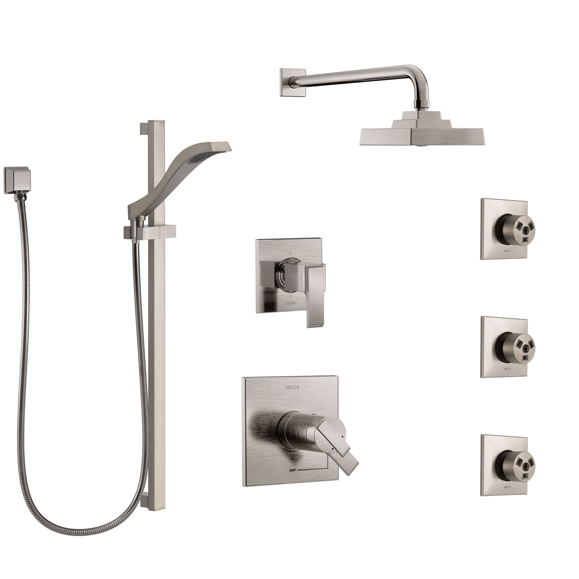 Delta Ara Dual Thermostatic Control Stainless Steel Finish Shower System, 6-Setting Diverter, Showerhead, 3 Body Sprays, and Hand Shower SS17T2671SS3