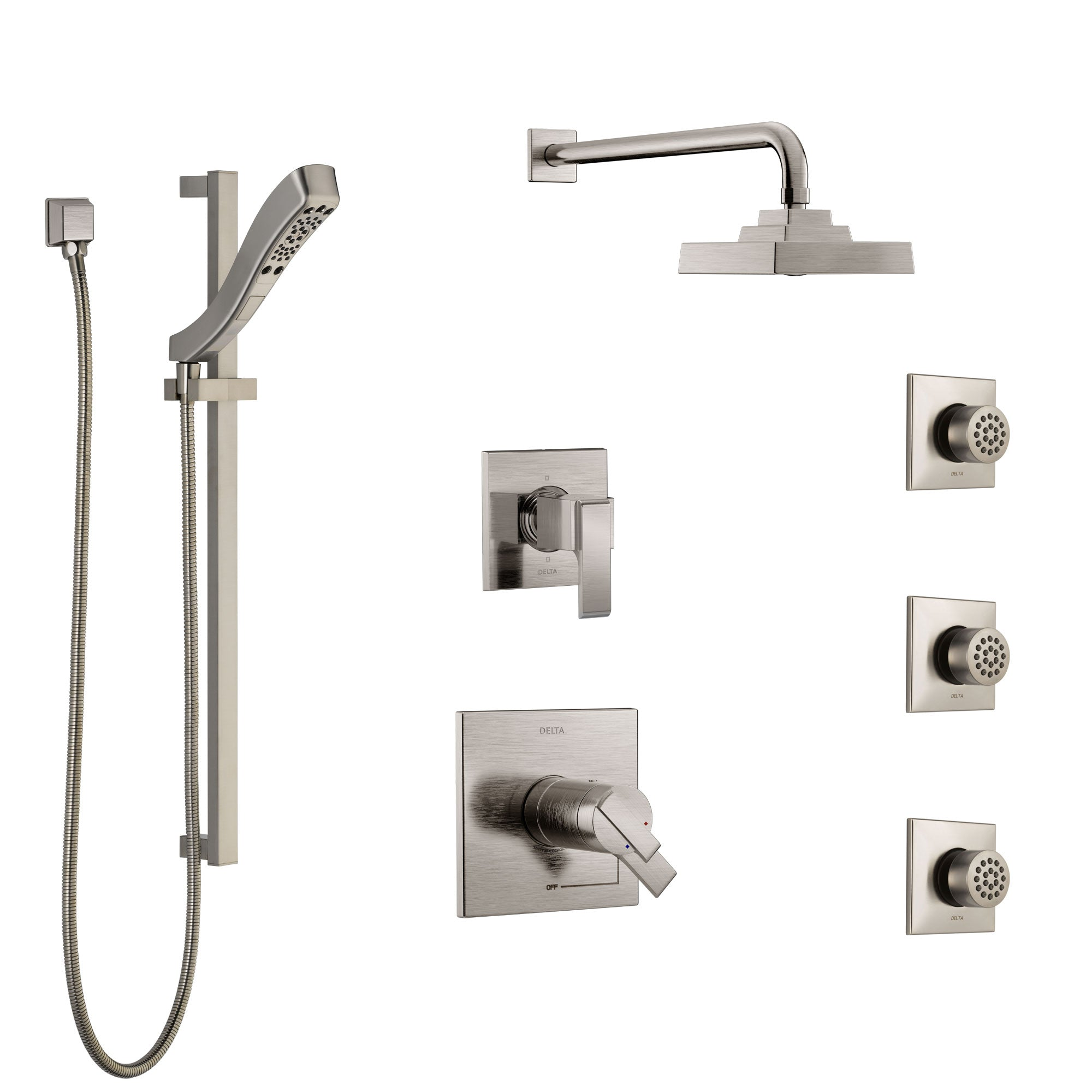 Delta Ara Dual Thermostatic Control Stainless Steel Finish Shower System, 6-Setting Diverter, Showerhead, 3 Body Sprays, and Hand Shower SS17T2671SS5