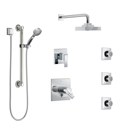 Delta Ara Chrome Shower System with Dual Thermostatic Control, 6-Setting Diverter, Showerhead, 3 Body Sprays, and Hand Shower with Grab Bar SS17T26721