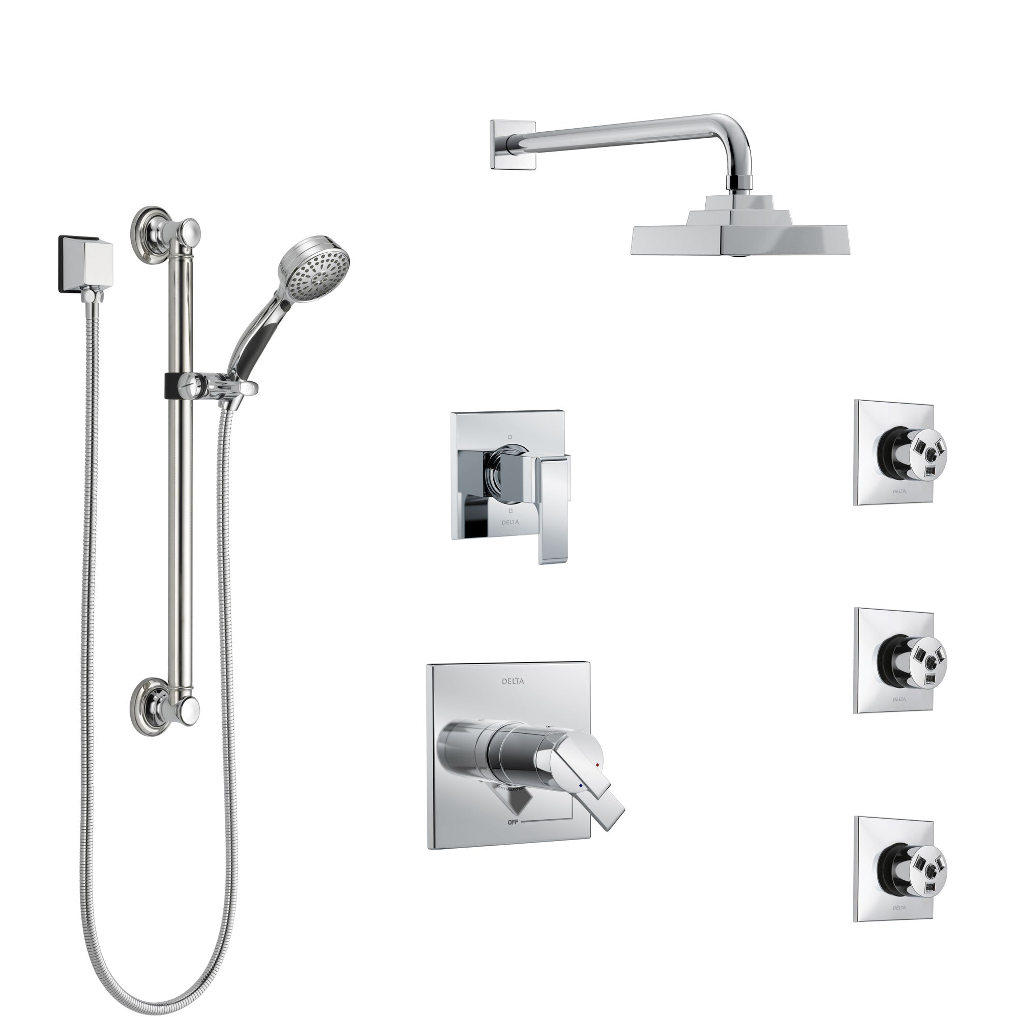 Delta Ara Chrome Shower System With Dual Thermostatic Control 6 Setting Diverter Showerhead 3 Body Sprays And Hand Shower With Grab Bar Ss17t26722