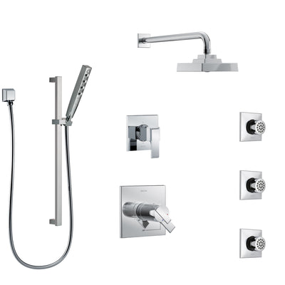 Delta Ara Chrome Finish Shower System with Dual Thermostatic Control Handle, 6-Setting Diverter, Showerhead, 3 Body Sprays, and Hand Shower SS17T26724