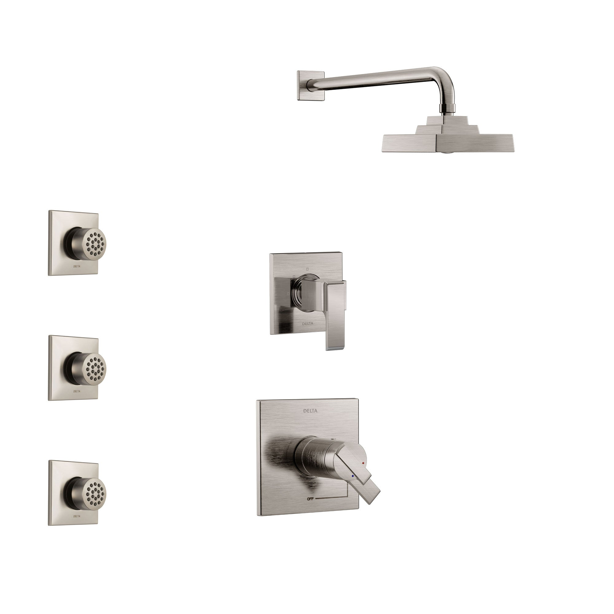 Delta Ara Stainless Steel Finish Shower System with Dual Thermostatic Control Handle, 3-Setting Diverter, Showerhead, and 3 Body Sprays SS17T2672SS2