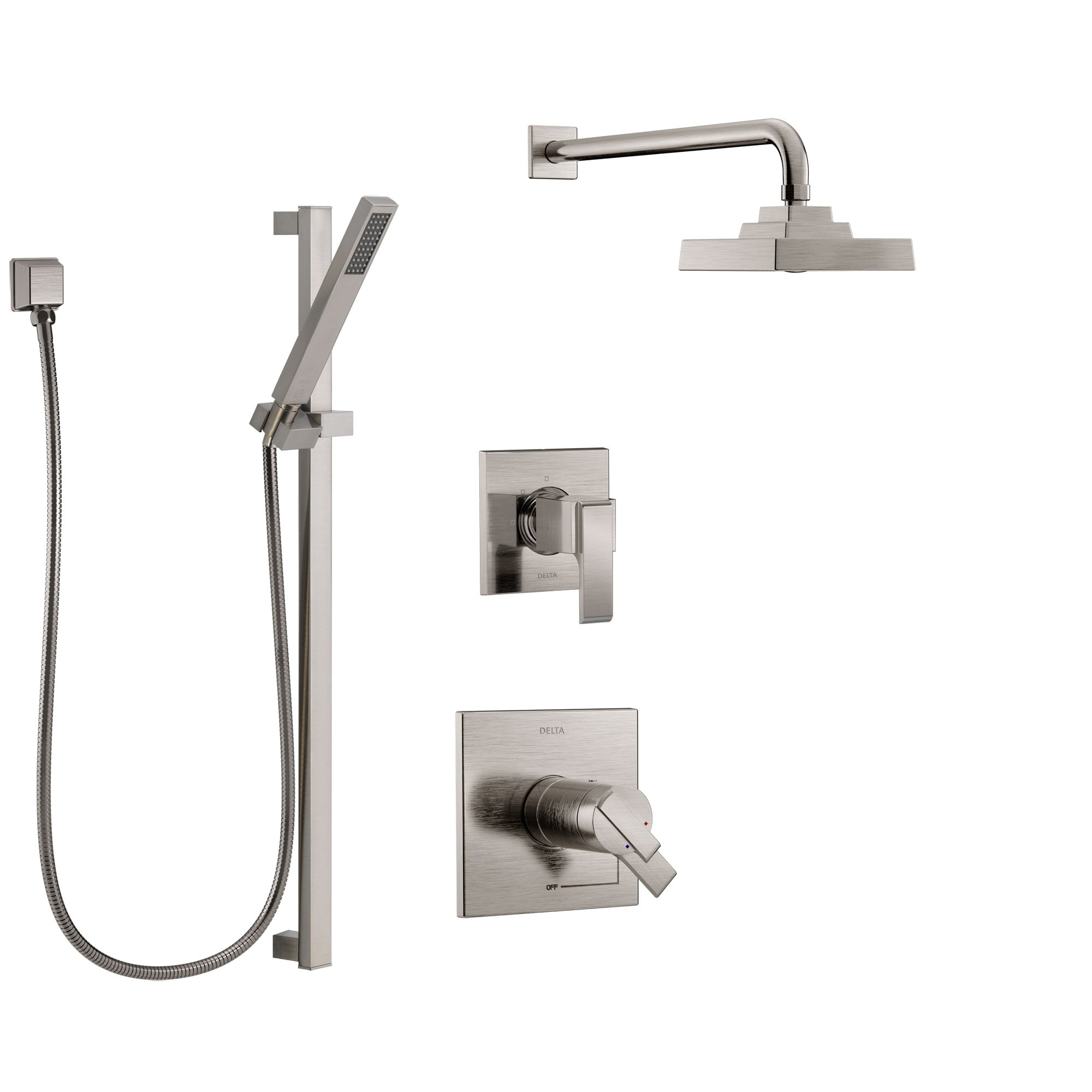 Delta Ara Dual Thermostatic Control Handle Stainless Steel Finish Shower System, Diverter, Showerhead, and Hand Shower with Slidebar SS17T2672SS5