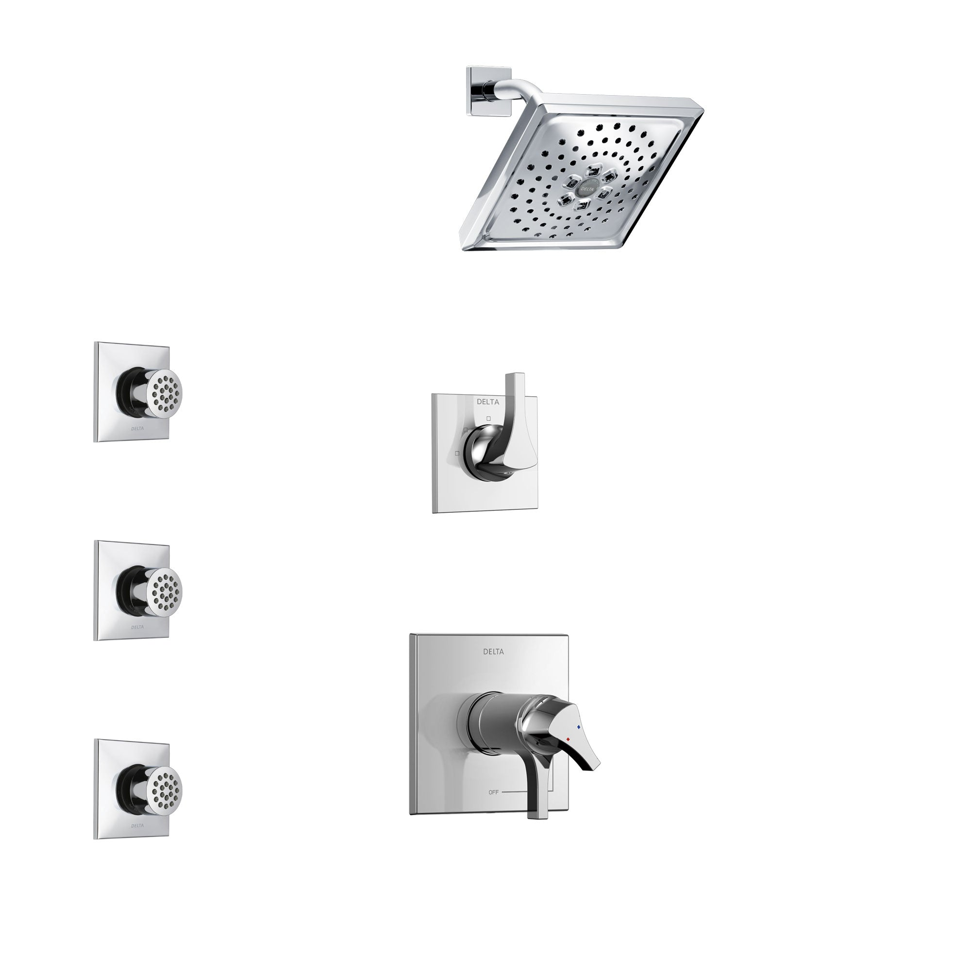 Delta Zura Chrome Finish Shower System with Dual Thermostatic Control Handle, 3-Setting Diverter, Showerhead, and 3 Body Sprays SS17T27411