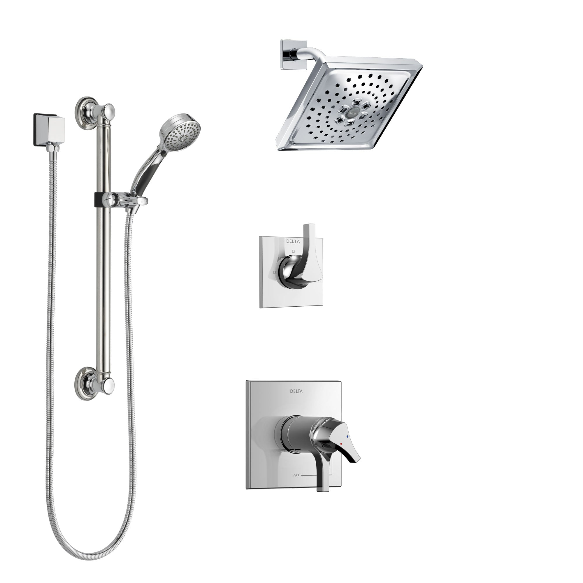 Delta Zura Chrome Finish Shower System with Dual Thermostatic Control Handle, 3-Setting Diverter, Showerhead, and Hand Shower with Grab Bar SS17T27414