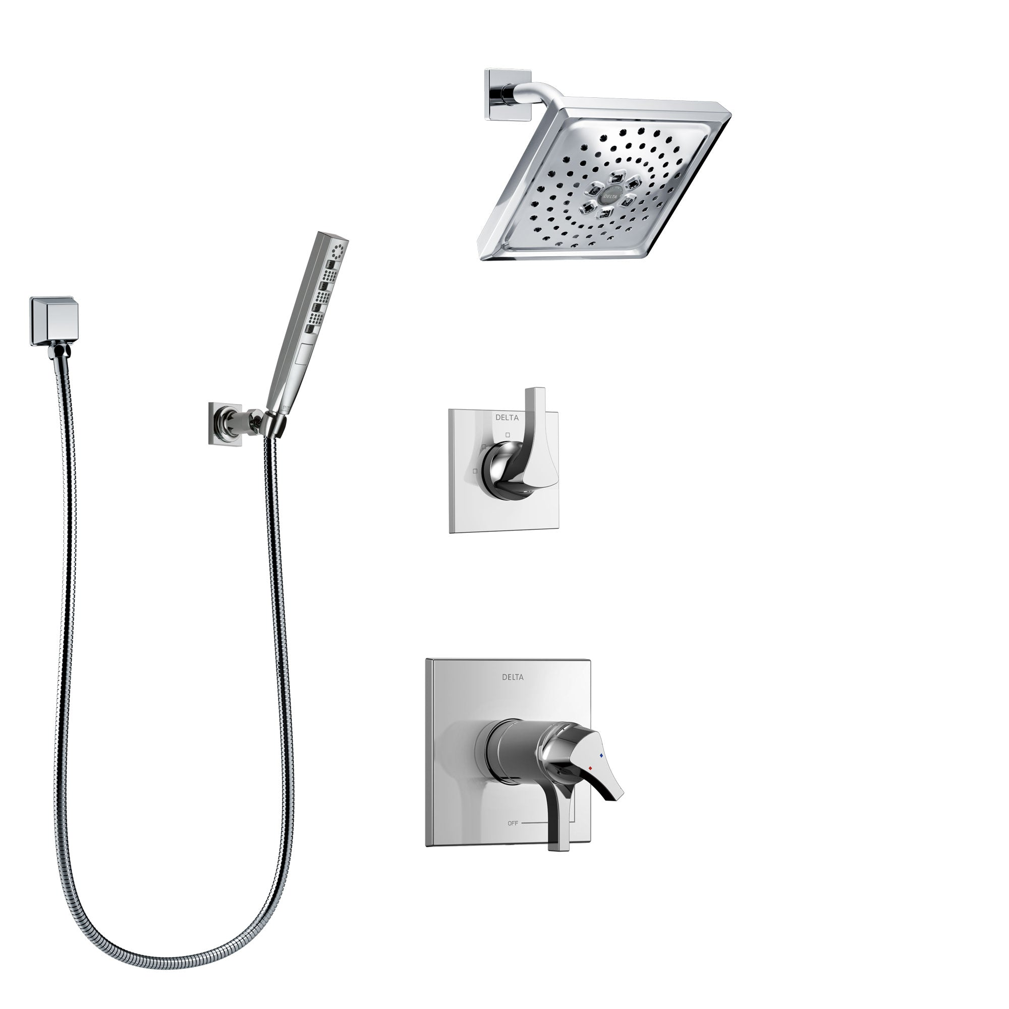 Delta Zura Chrome Finish Shower System with Dual Thermostatic Control Handle, Diverter, Showerhead, and Hand Shower with Wall Bracket SS17T27415