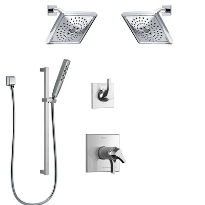 Delta Zura Chrome Finish Shower System with Dual Thermostatic Control Handle, 6-Setting Diverter, 2 Showerheads, Hand Shower with Slidebar SS17T27425