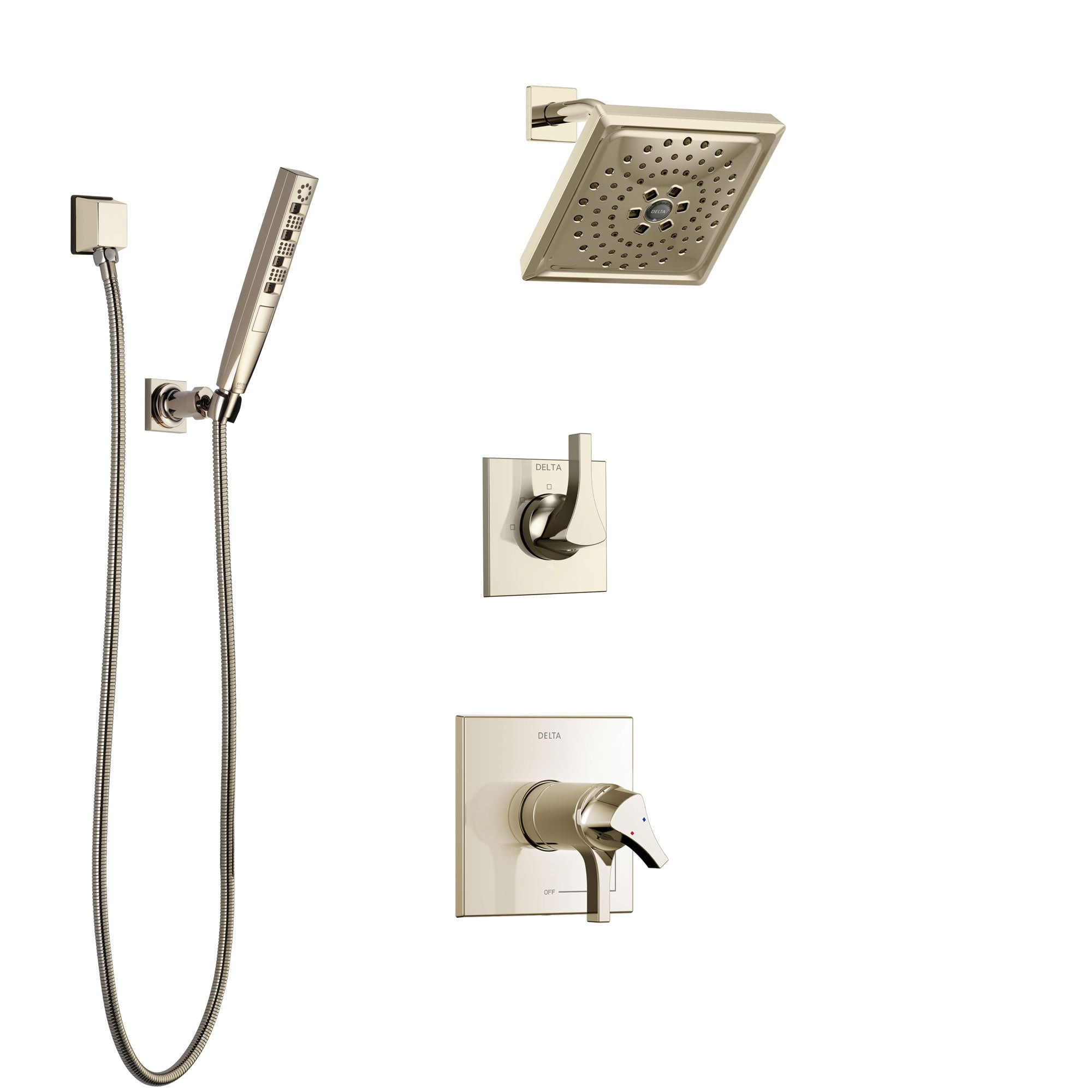 Delta Zura Polished Nickel Shower System With Dual Thermostatic Control Handle Diverter Showerhead And Hand Shower With Wall Bracket Ss17t274pn2