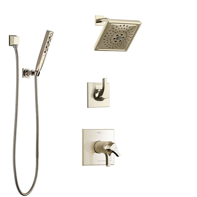 Delta Zura Polished Nickel Shower System with Dual Thermostatic Control Handle, Diverter, Showerhead, and Hand Shower with Slidebar SS17T274PN3