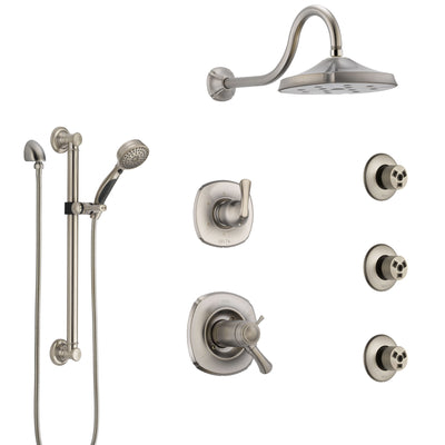 Delta Addison Dual Thermostatic Control Stainless Steel Finish Shower System, Diverter, Showerhead, 3 Body Sprays, Grab Bar Hand Spray SS17T2922SS1