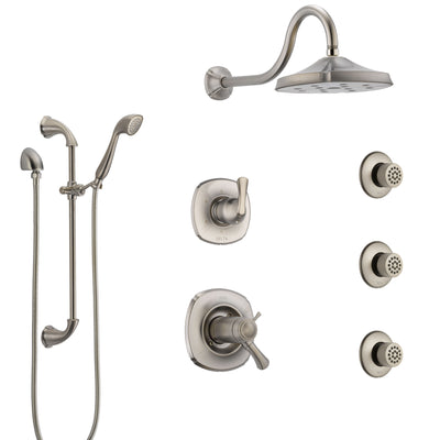 Delta Addison Dual Thermostatic Control Stainless Steel Finish Shower System, Diverter, Showerhead, 3 Body Sprays, and Hand Shower SS17T2922SS3