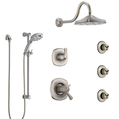Delta Addison Dual Thermostatic Control Stainless Steel Finish Shower System, Diverter, Showerhead, 3 Body Sprays, and Temp2O Hand Shower SS17T2922SS5