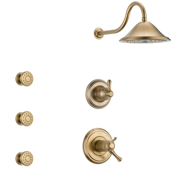 Delta Cassidy Champagne Bronze Shower System with Dual Thermostatic Control Handle, 3-Setting Diverter, Showerhead, and 3 Body Sprays SS17T2971CZ1