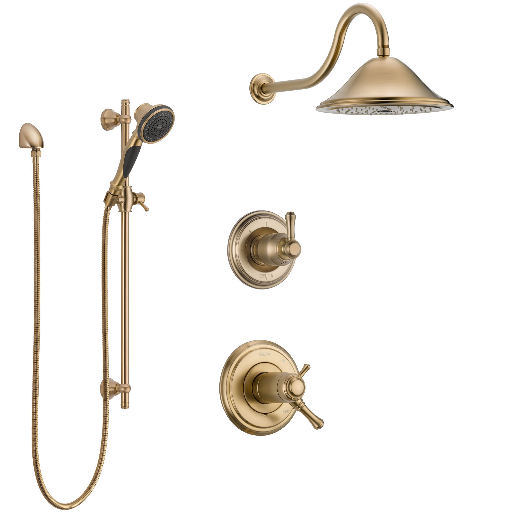Delta Cassidy Champagne Bronze Shower System with Dual Thermostatic Control Handle, Diverter, Showerhead, and Hand Shower with Slidebar SS17T2971CZ3