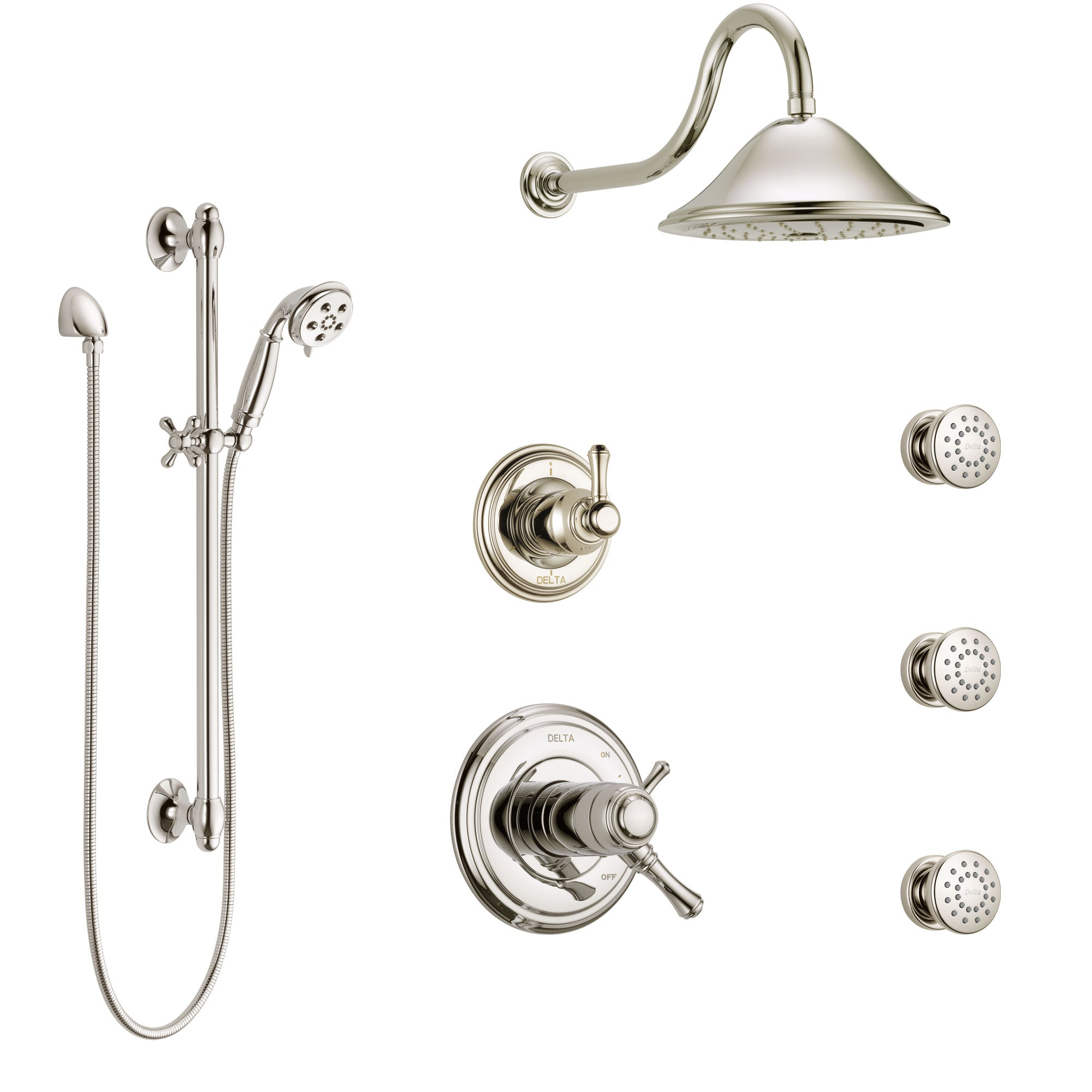 Delta Cassidy Polished Nickel Shower System with Dual Thermostatic Control, Diverter, Showerhead, 3 Body Sprays, and Hand Shower SS17T2971PN1