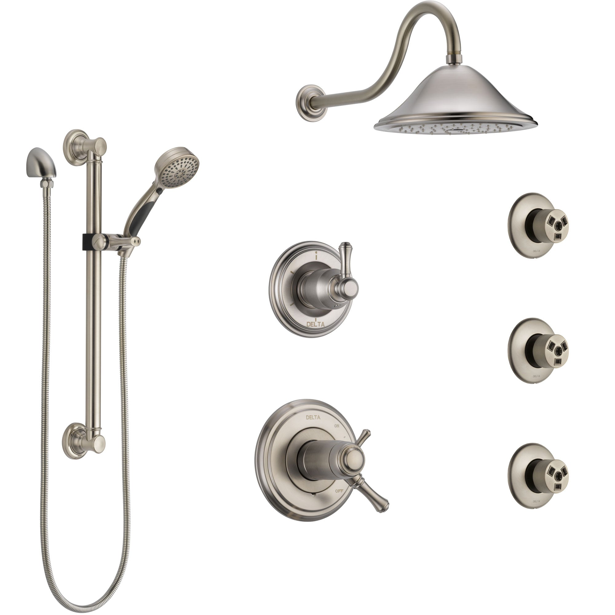 Delta Cassidy Dual Thermostatic Control Stainless Steel Finish Shower System, Diverter, Showerhead, 3 Body Sprays, Grab Bar Hand Spray SS17T2971SS1