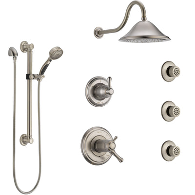Delta Cassidy Dual Thermostatic Control Stainless Steel Finish Shower System, Diverter, Showerhead, 3 Body Sprays, Grab Bar Hand Spray SS17T2971SS2