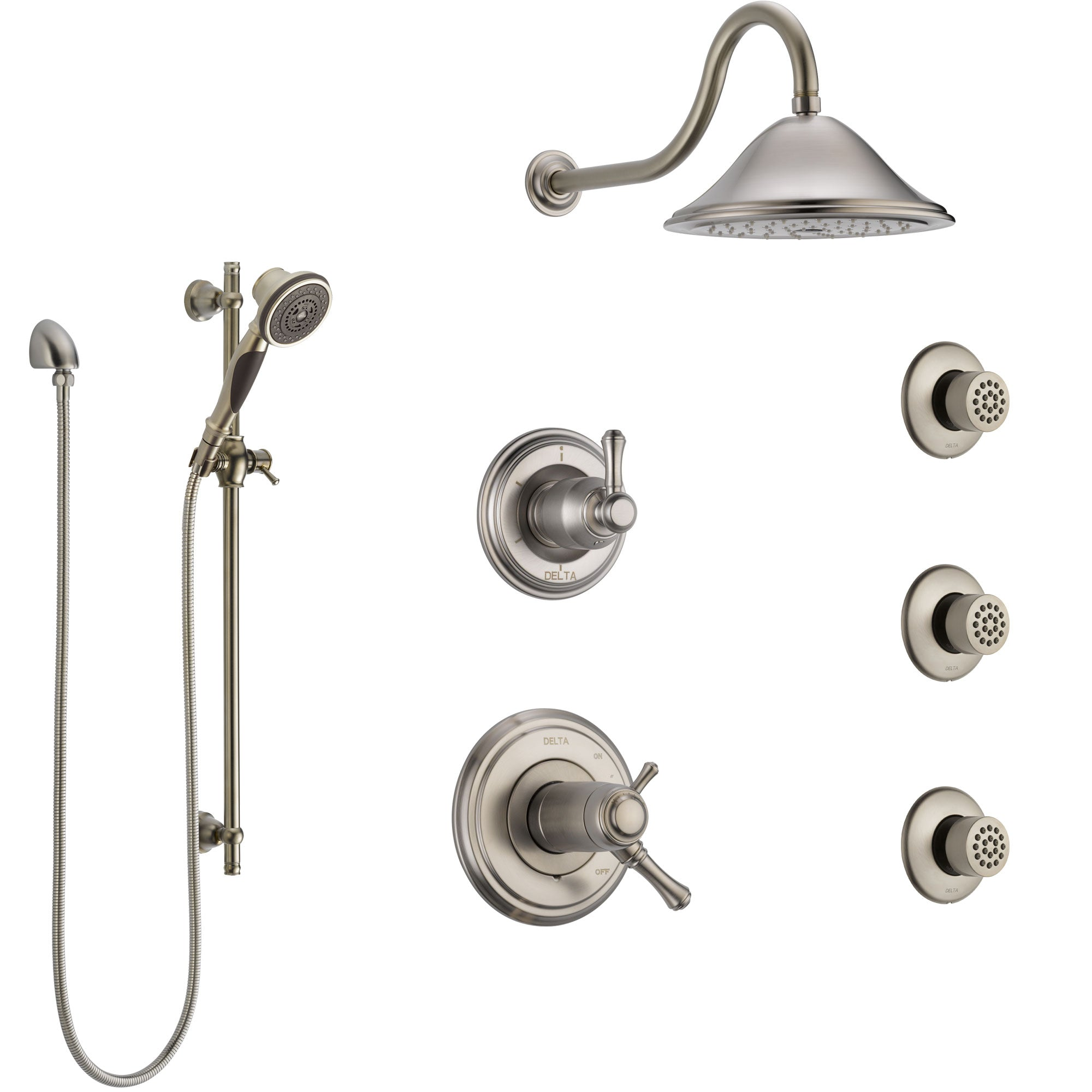 Delta Cassidy Dual Thermostatic Control Stainless Steel Finish Shower System, Diverter, Showerhead, 3 Body Sprays, and Hand Shower SS17T2971SS3