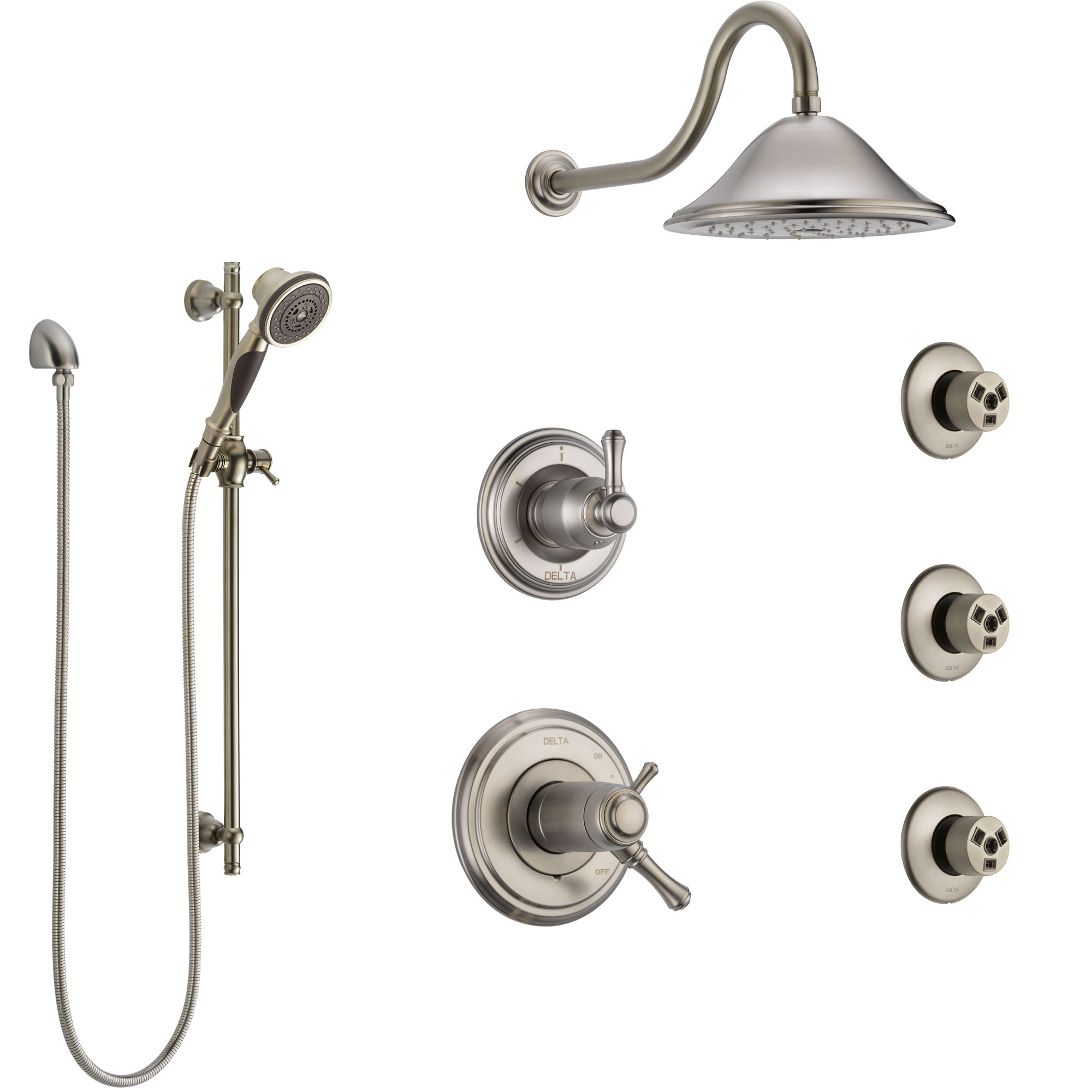 Delta Cassidy Dual Thermostatic Control Stainless Steel Finish Shower System, Diverter, Showerhead, 3 Body Sprays, and Hand Shower SS17T2971SS4