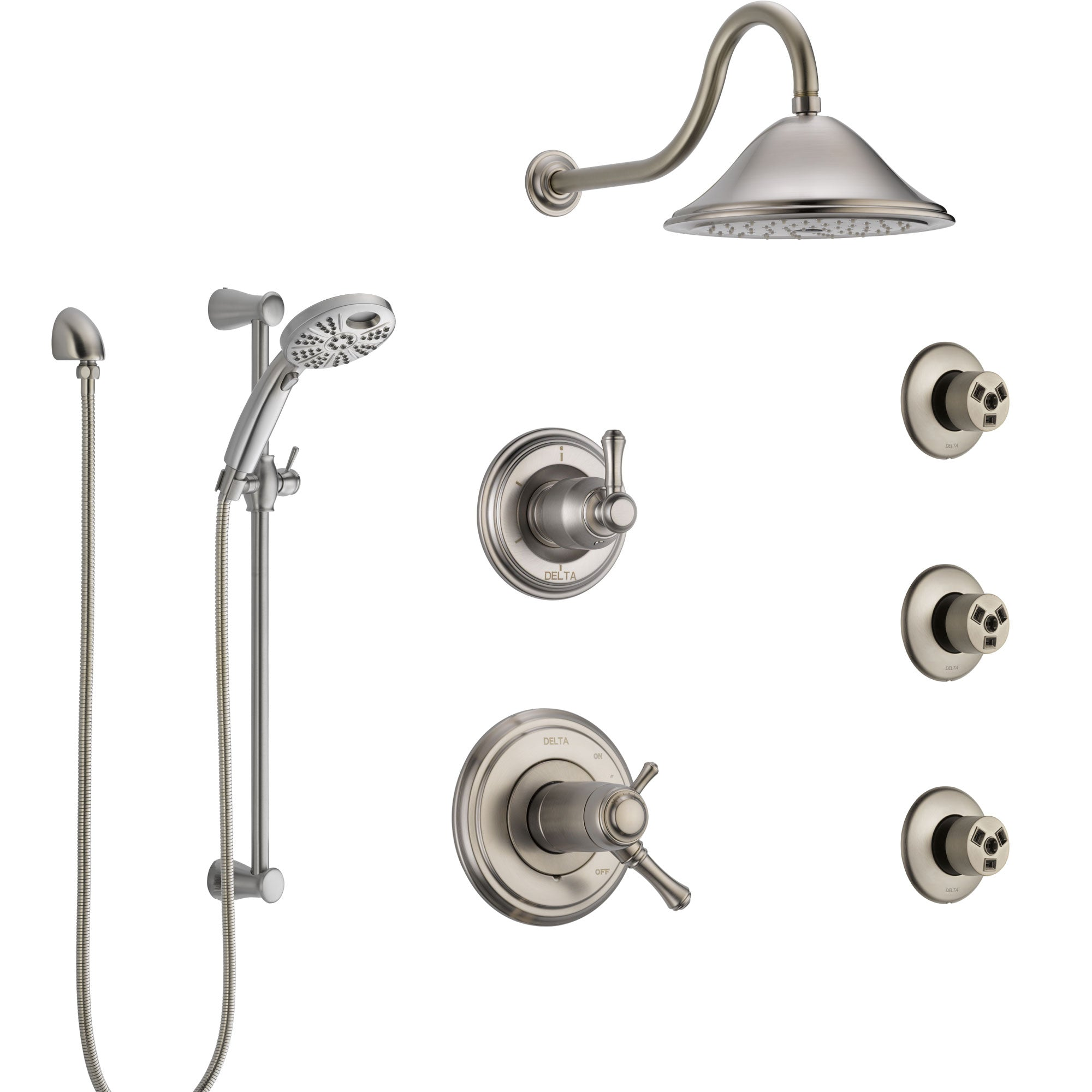 Delta Cassidy Dual Thermostatic Control Stainless Steel Finish Shower System, Diverter, Showerhead, 3 Body Sprays, and Temp2O Hand Shower SS17T2971SS5
