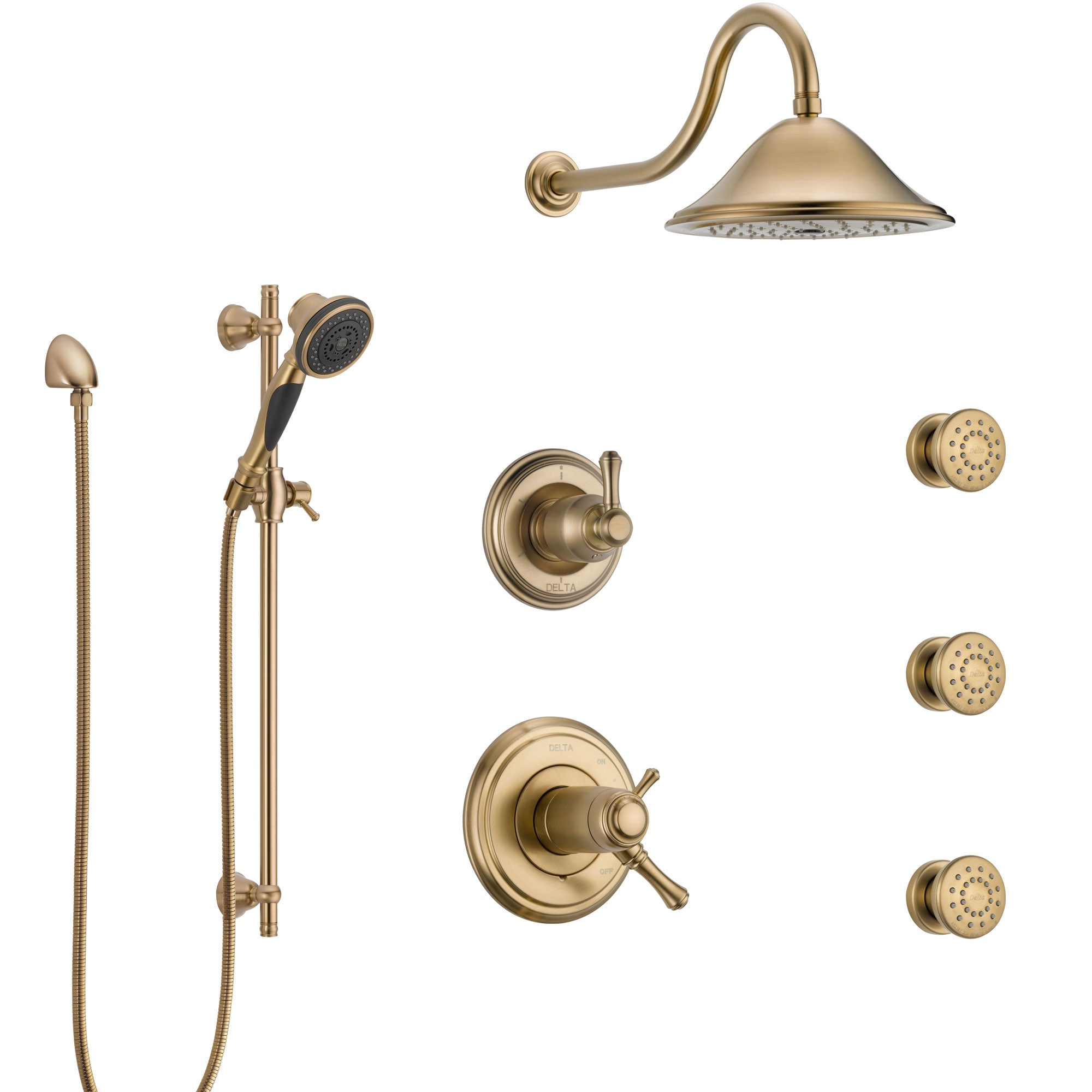 Delta Cassidy Champagne Bronze Shower System with Dual Thermostatic Control, Diverter, Showerhead, 3 Body Sprays, and Hand Shower SS17T2972CZ2