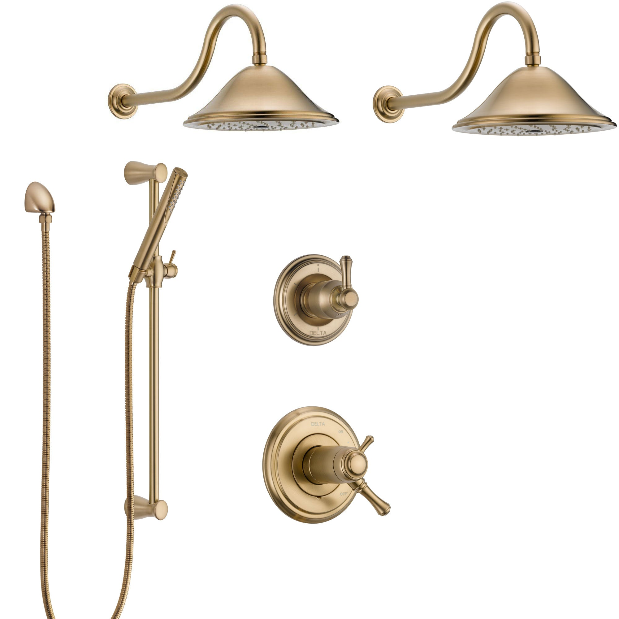 Delta Cassidy Champagne Bronze Shower System with Dual Thermostatic Control Handle, 6-Setting Diverter, 2 Showerheads, Hand Shower SS17T2972CZ3