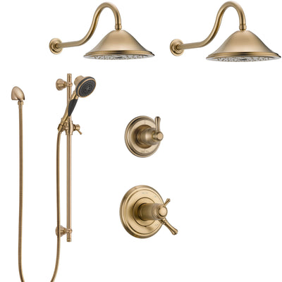 Delta Cassidy Champagne Bronze Shower System with Dual Thermostatic Control Handle, 6-Setting Diverter, 2 Showerheads, Hand Shower SS17T2972CZ4