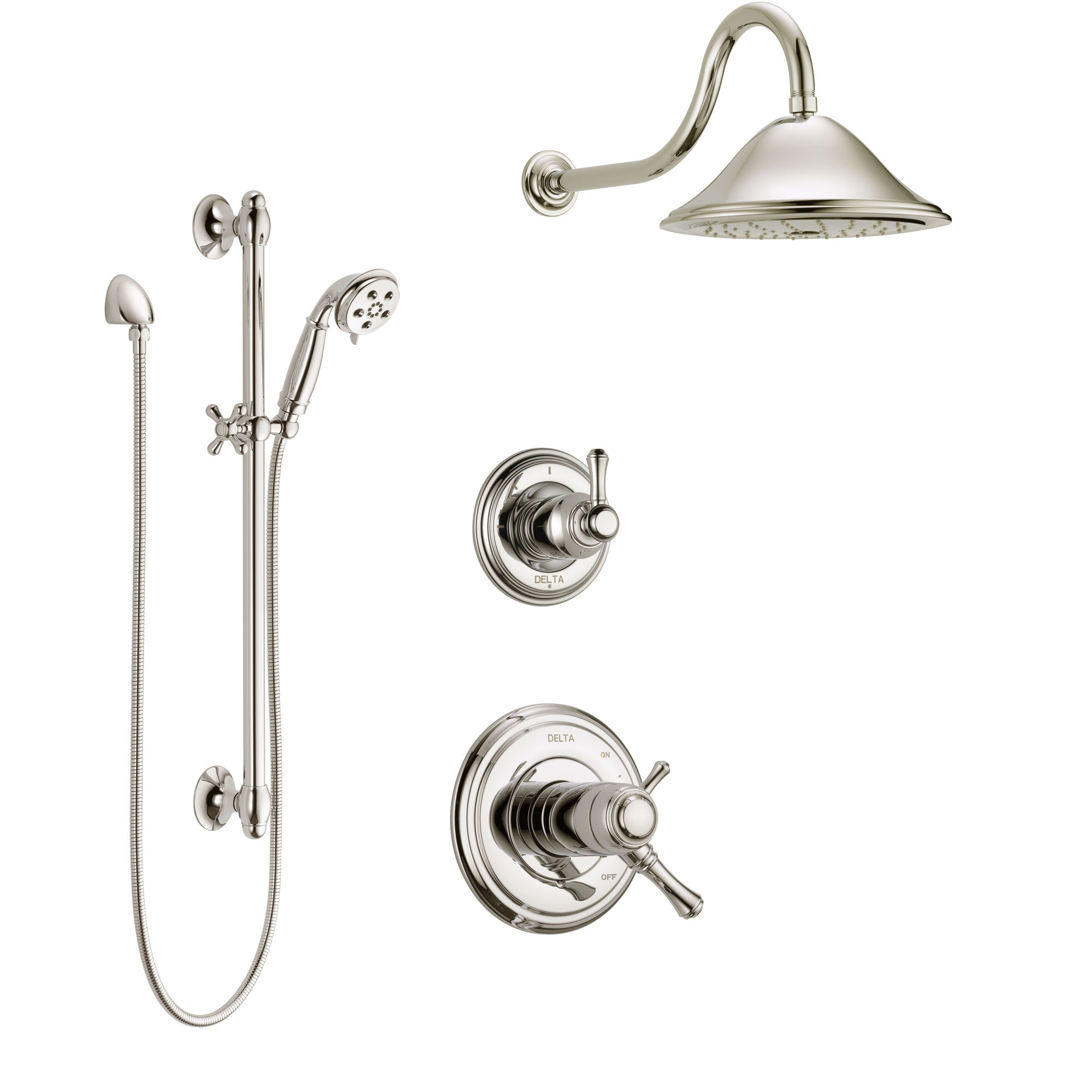 Delta Cassidy Polished Nickel Shower System with Dual Thermostatic Control Handle, Diverter, Showerhead, and Hand Shower with Slidebar SS17T2972PN2