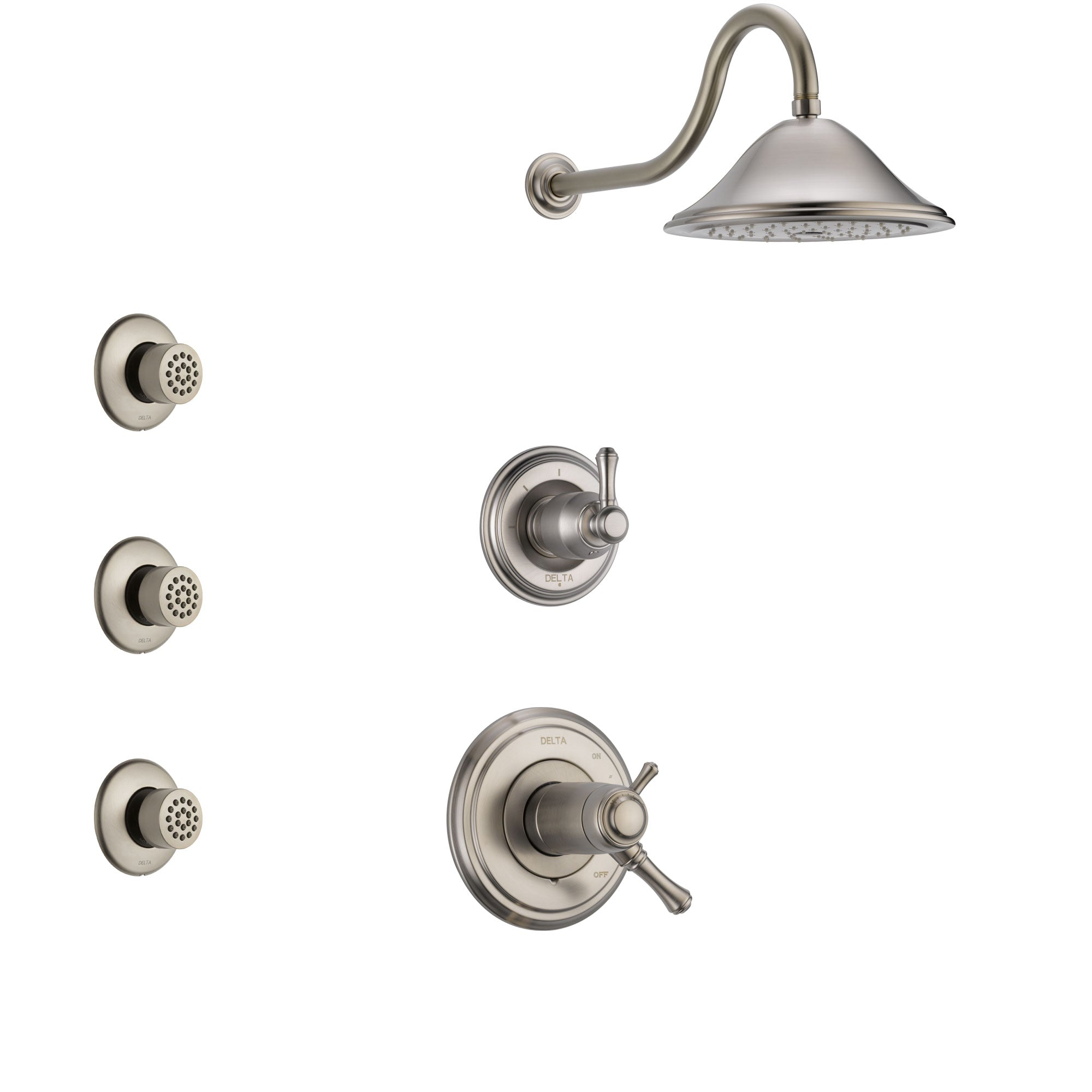 Delta Cassidy Dual Thermostatic Control Handle Stainless Steel Finish Shower System, 3-Setting Diverter, Showerhead, and 3 Body Sprays SS17T2972SS2