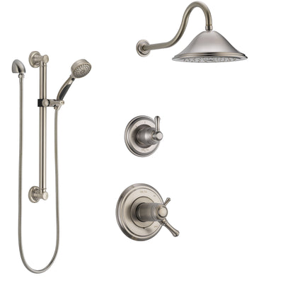Delta Cassidy Dual Thermostatic Control Handle Stainless Steel Finish Shower System, Diverter, Showerhead, and Hand Shower with Grab Bar SS17T2972SS3