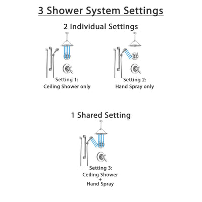 Delta Lahara Chrome Shower System with Dual Thermostatic Control Handle, Diverter, Ceiling Mount Showerhead, and Hand Shower with Grab Bar SS17T3816