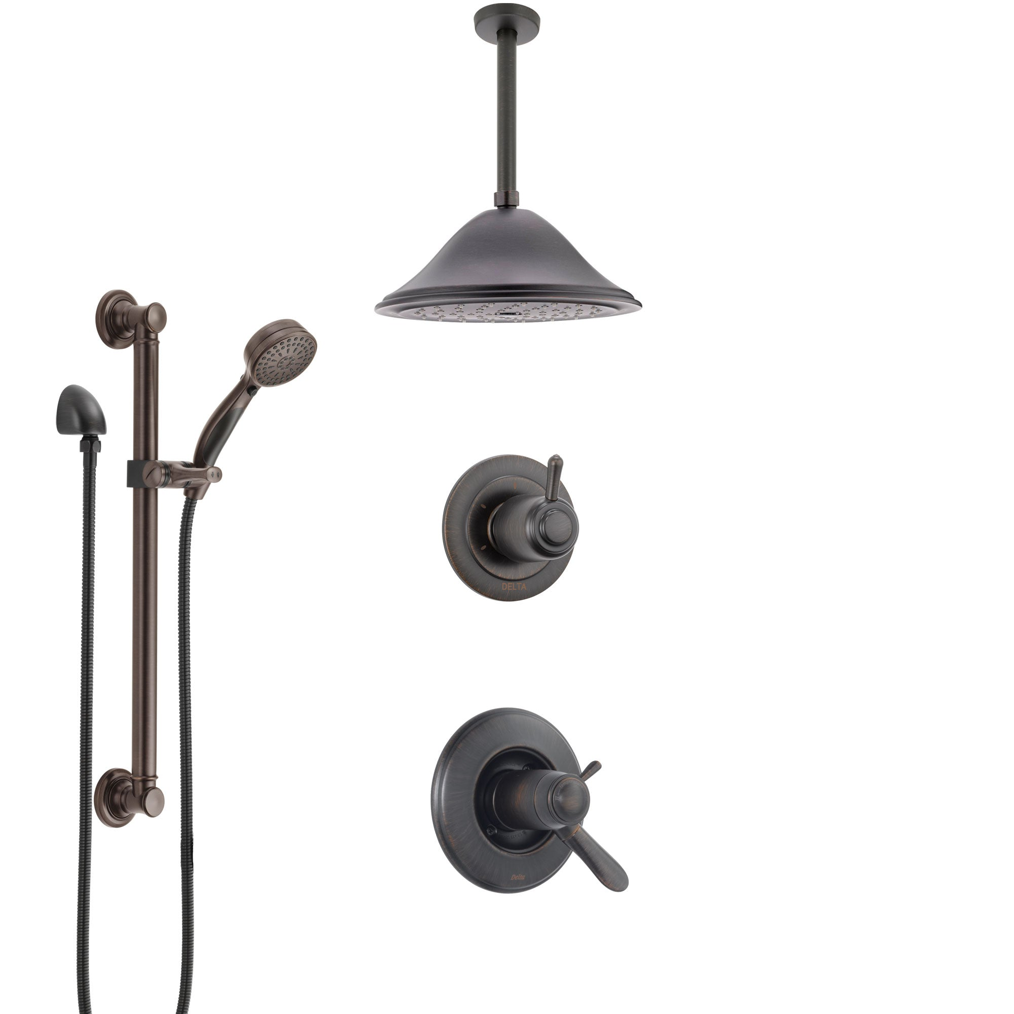 Delta Lahara Venetian Bronze Shower System with Dual Thermostatic Control, Diverter, Ceiling Mount Showerhead, and Grab Bar Hand Shower SS17T381RB2