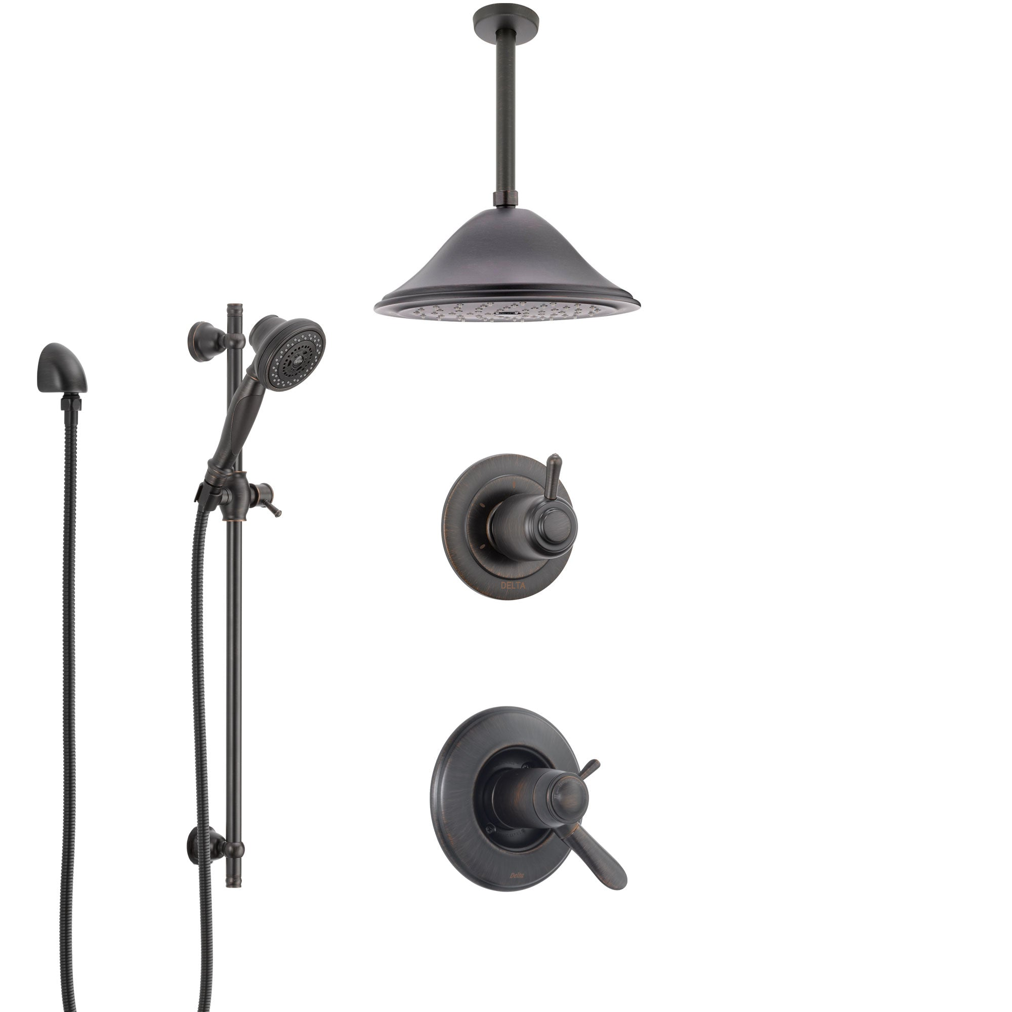Delta Lahara Venetian Bronze Shower System with Dual Thermostatic Control Handle, Diverter, Ceiling Mount Showerhead, and Hand Shower SS17T381RB3