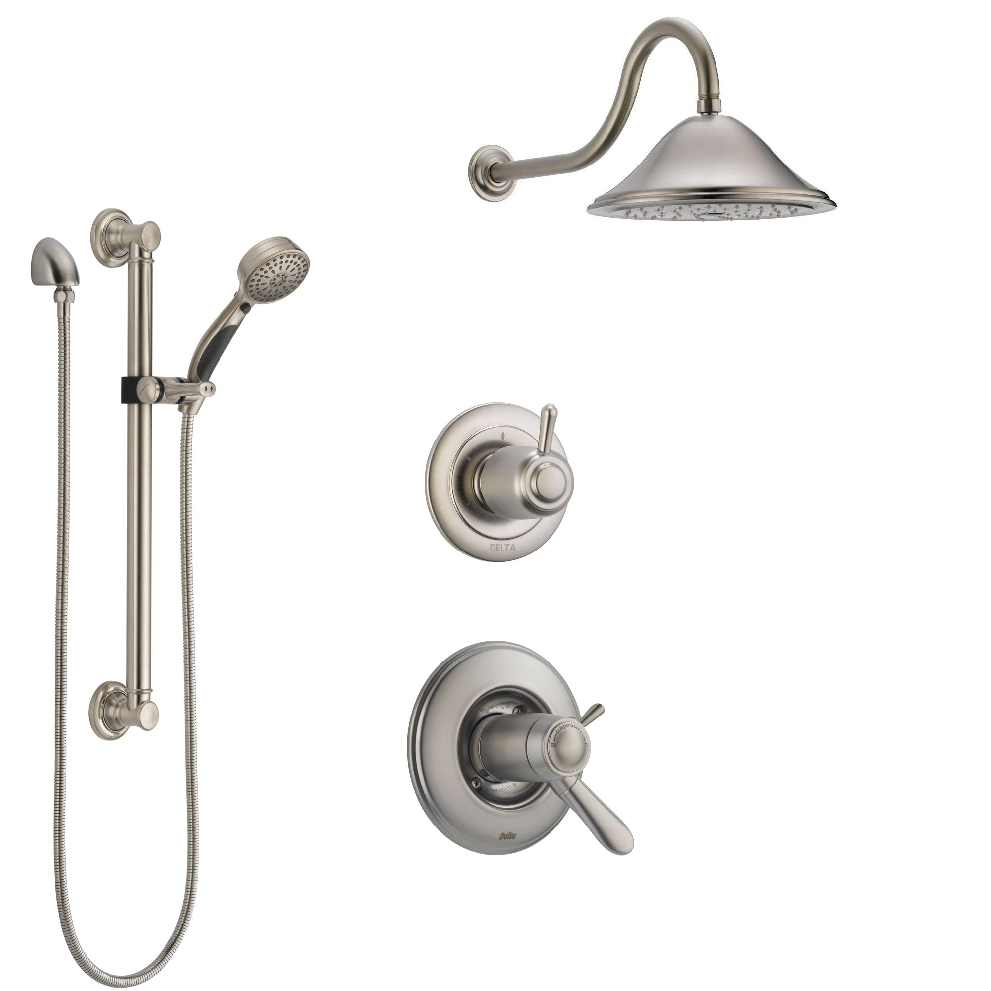 Delta Lahara Dual Thermostatic Control Handle Stainless Steel Finish Shower System, Diverter, Showerhead, and Hand Shower with Grab Bar SS17T381SS1