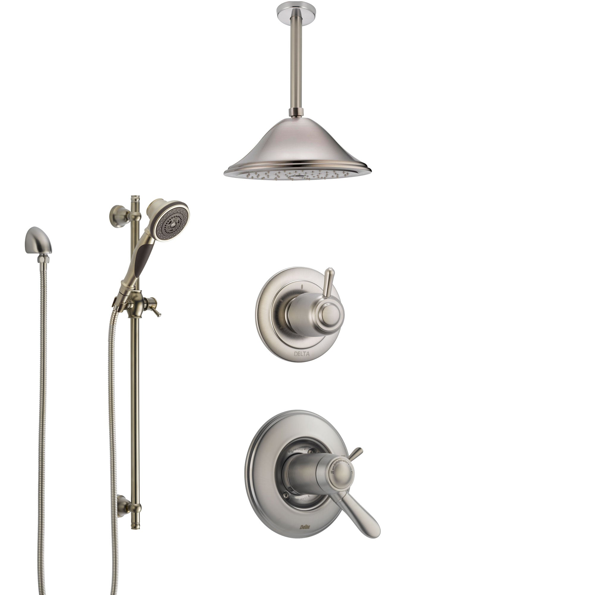 Delta Lahara Dual Thermostatic Control Handle Stainless Steel Finish Shower System, Diverter, Ceiling Mount Showerhead, and Hand Shower SS17T381SS5