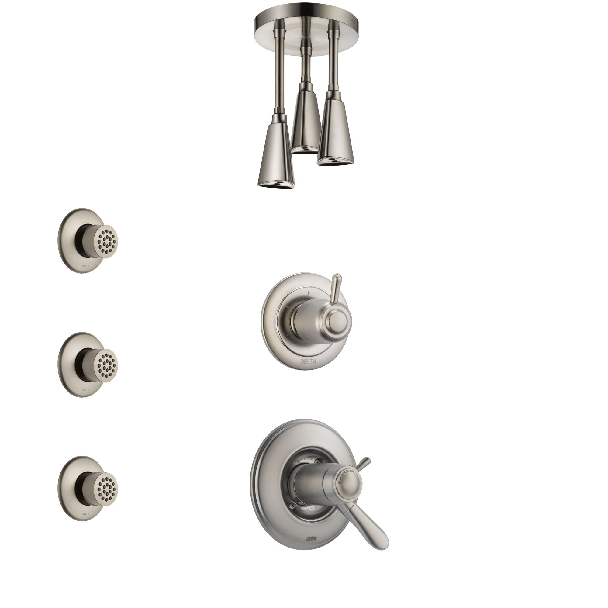 Delta Lahara Dual Thermostatic Control Handle Stainless Steel Finish Shower System, Diverter, Ceiling Mount Showerhead, and 3 Body Sprays SS17T381SS6