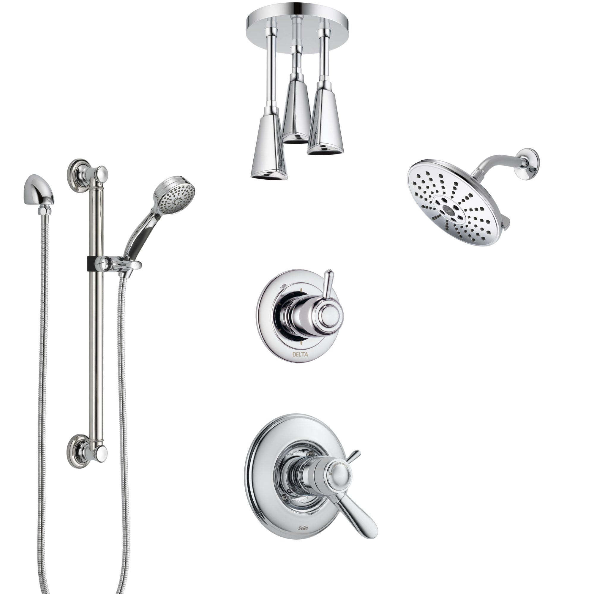 Delta Lahara Chrome Shower System with Dual Thermostatic Control, Diverter, Showerhead, Ceiling Mount Showerhead, and Grab Bar Hand Shower SS17T3821