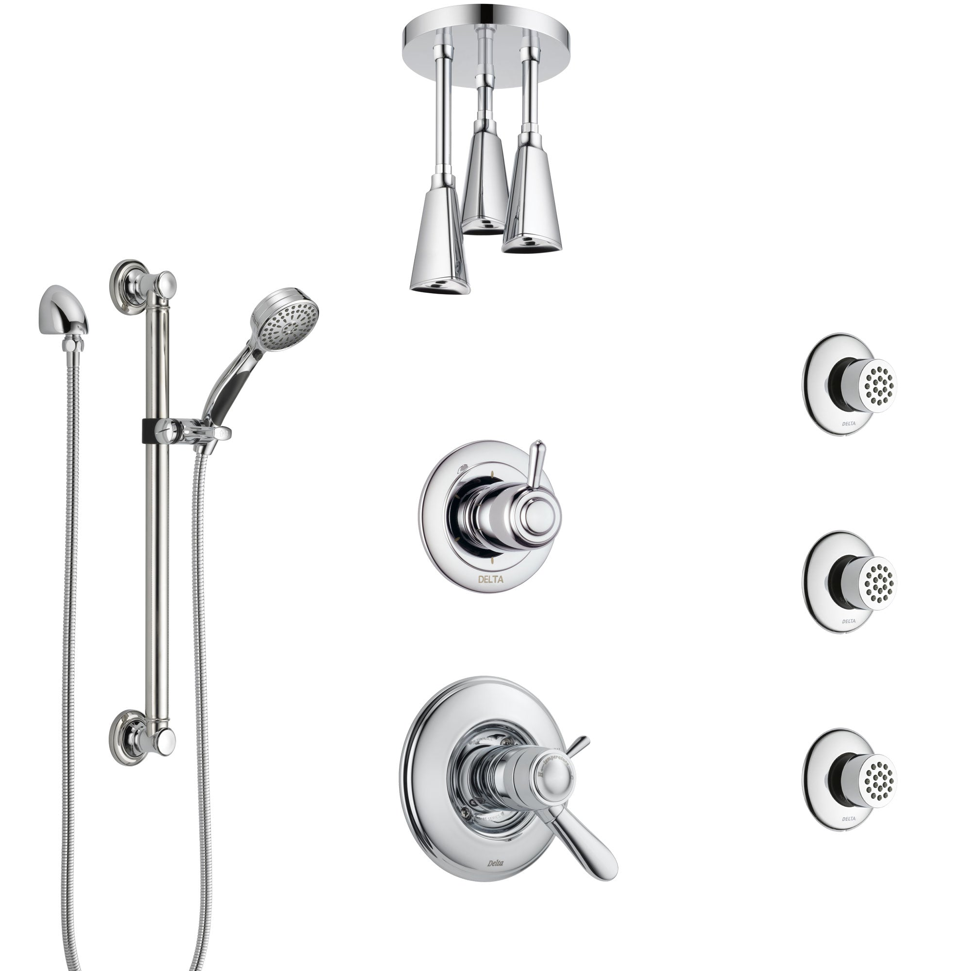 Delta Lahara Chrome Shower System with Dual Thermostatic Control, Diverter, Ceiling Showerhead, 3 Body Sprays, and Grab Bar Hand Shower SS17T3822