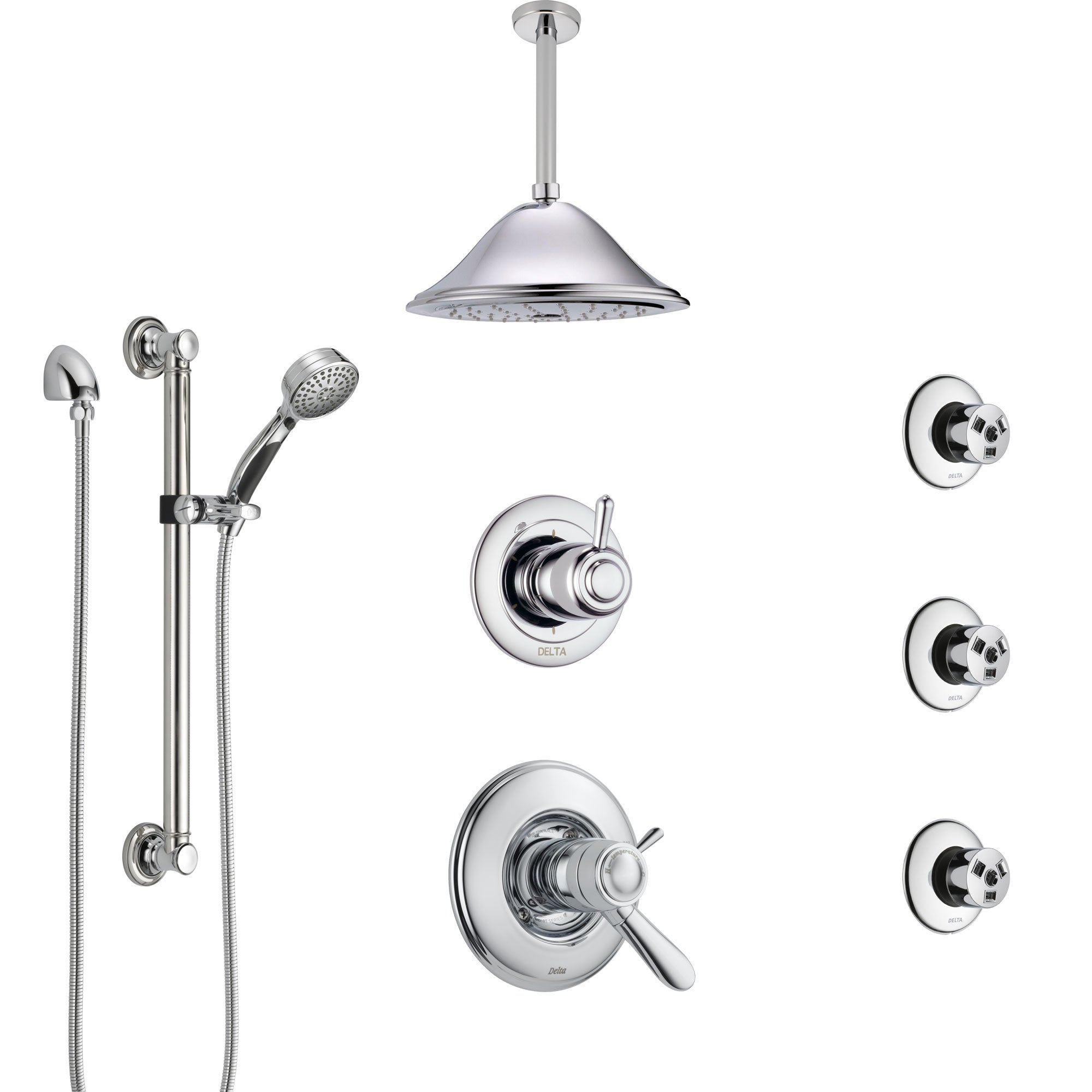 Delta Lahara Chrome Shower System with Dual Thermostatic Control, Diverter, Ceiling Showerhead, 3 Body Sprays, and Grab Bar Hand Shower SS17T3823