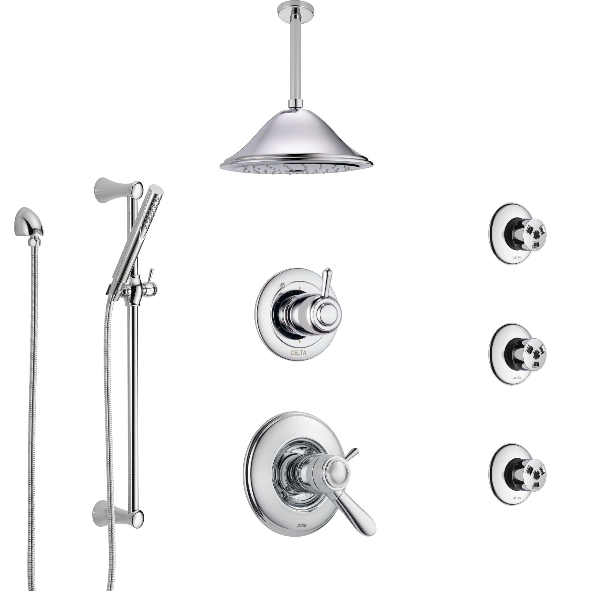 Delta Lahara Chrome Shower System with Dual Thermostatic Control, Diverter, Ceiling Mount Showerhead, 3 Body Sprays, and Hand Shower SS17T3824